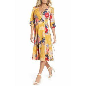 ELIZA J dress faux wrap floral midi v neck 2P